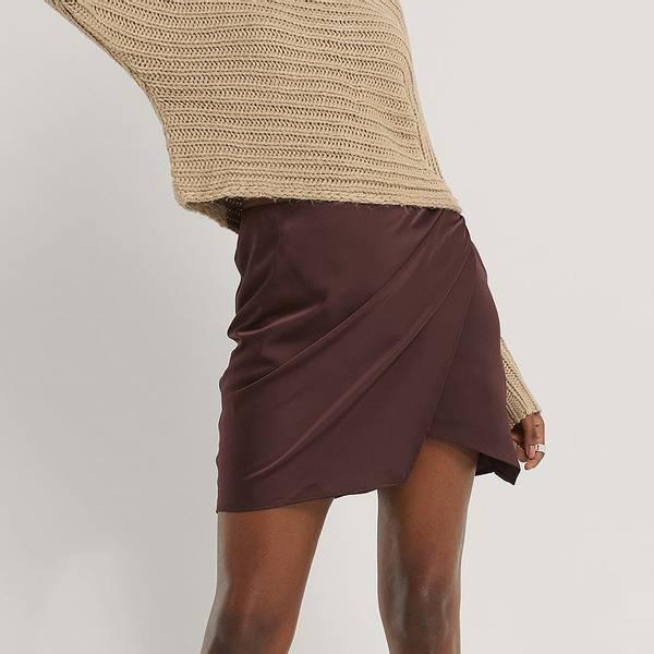 Bilde av NA-KD - Mini Wrap Skirt Burgunder